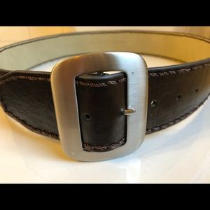 Brown Belt with Matte Silver Buckle